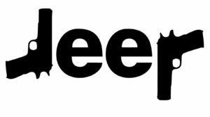 Price comparison product image Jeep Logo w/ Guns PREMIUM Decal 5 inch Whtie | Sig | Glock |Wrangler | Rubicon | Cherokee | Sahara | 4x4 | Offroad | Girl Jeep | car truck van laptop macbook bumper sticker