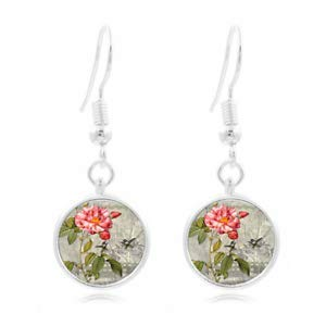 1set Rose,Pink Roses Tibet Silver Dome Photo 16MM Glass Cabochon Long Earrings