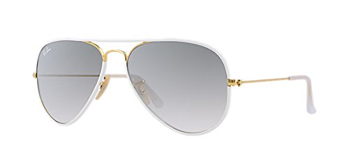 Ray Ban Aviator Full Color RB 3025JM 146/32 58mm White / Grey Gradient - White Aviator Ray Bans