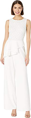 Adrianna Papell Women's Sleeveless Beaded Bodice Knit Crepe Jumpsuit with Peplum Ivory 16