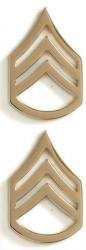 US Army Staff Sergeant Gold Collar Device Rank Insignia Pair ()