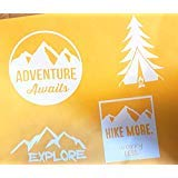 Less Decal Set - Hiking Vinyl Decals Set Of 4 Adventure Awaits, Hike More Worry Less, Tree Tent Fire. Mountain, Hiker Couple Guy Girl With Dog Hiking Camper Camping Die Cut Decal Outdoors, Windows, Cars, Trucks,