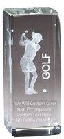 Optical Crystal Golf Award - Express Medals Customizable Optical Crystal Female Golf Trophy Award Gift