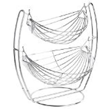 Chrome Double Hammock 2 Tier Fruit / Vegetables / Produce Metal Basket Rack Display Stand - MyGift®