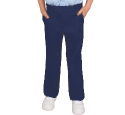French Toast Girls' Adjustable Waist Flat Front Pant - Navy, -