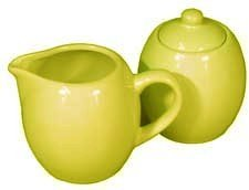 Yellow Ceramic Creamer and Sugar Service Set with Lid