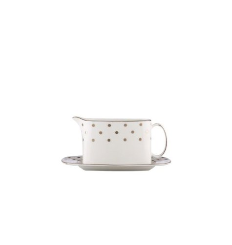 Kate Spade Larabee Road Platinum Sauce Boat W/Stand -