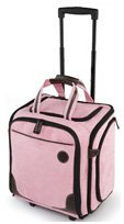 Thermoweb Large Wheeled Tote, Pink/Chocolate Micro Suede