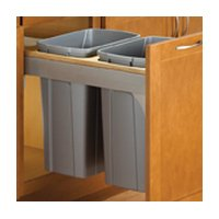 Knape & Vogt TSC15-2-35PT Door-Mount Waste Container Softclose, Platinum by Knape & Vogt