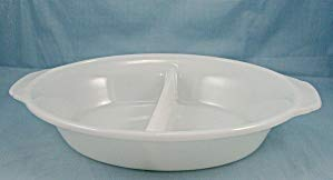 AnchorHocking Fire-King Model 468 White Divided Casserole Dish No Lid