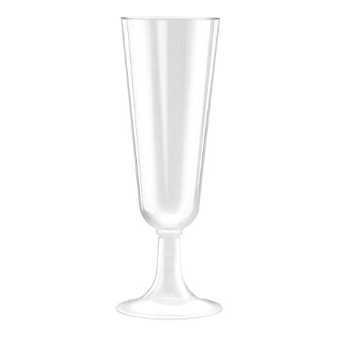 50 Plastic Champagne Flutes | 5.5 oz. Clear Hard Disposable Party & Wedding Cups | Premium Heavy Duty Fancy Champagne Flute (50-Pack) by Bloomingoods