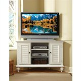 Home Styles 5543-07 Bermuda Corner TV Stand, Brushed White Finish - White Poplar Cabinet