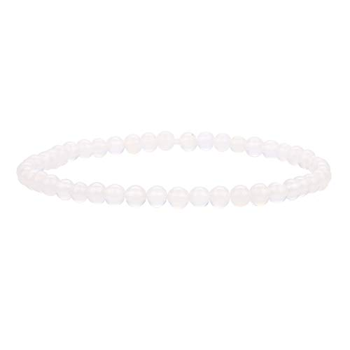 BALIBALI 4MM Mini Gemstone Energy Bracelets Tiny Rose Quartz Bracelet Natural Stone Statement Bracelet Charm Beaded Couples Bracelets - Heart Strand Bracelet Open