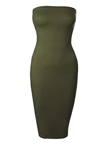 BEYONDFAB Women's Stretchy Comfort Strapless Tube Top Body-Con Midi Dress Olive S