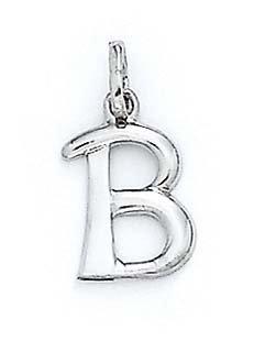 "Pendentif initiale B Blanc 14 carats 11/16 ""- JewelryWeb"