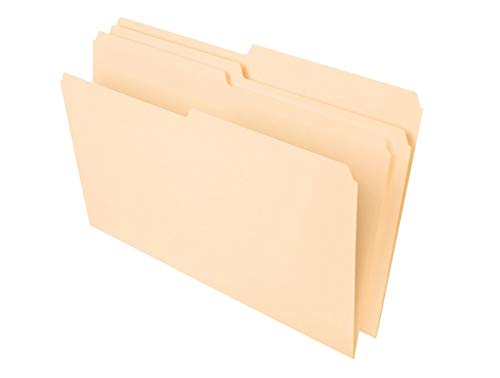 Office Depot File Folders, 1/2 Tab Cut, Second Position, Legal Size, 30% Recycled, Manila, Pack of 100, OD753 1/2