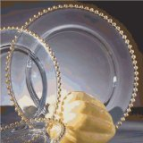 13' Round Plate (13' Gold Beaded Glass Charger Plate by P.O.C. Supplies)