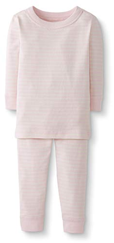Moon and Back by Hanna Andersson Baby/Toddler 2-Piece Organic Cotton Long Sleeve Stripe Pajama Set, Pink Stripe, 3T