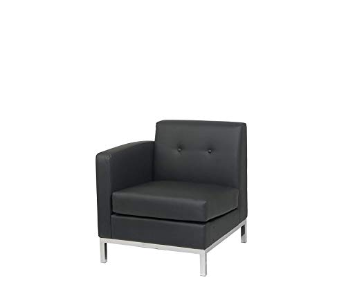 Office Home Furniture Premium Avenue 6-Wall Street Right Arm Facing Chair, Black Faux Leather