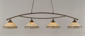 Mission Tiffany Four Light (Toltec Bow 4 Light Bar in Bronze with 15
