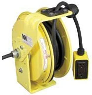 product image for Kh Industries Yellow Retractable Cord Reel, 20 Max Amps, Cord Ending: Quad Box Receptacle, 50 ft Cord Length - RTBB3L-WDD520-J12K