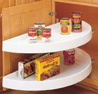 Half Moon Shaped Lazy Susans, Two 33'' Shelves w/Both Shelves Pull Out, 16-1/8'', 33'', White