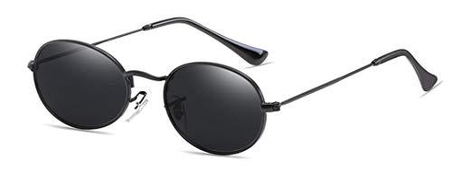 Small Oval Mirror Sunglasses For Women Pink Luxury Men Eyewear Shades Ladies Alloy Sun Glasses UV400,black ()