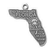 Sterling Silver Florida State Charm with Split Ring ()