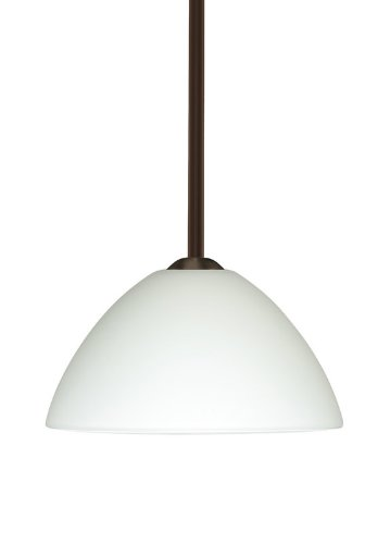 Besa Lighting 1TT-420107-LED-BR 1X6W GU24 Tessa LED Pendant with White Glass, Bronze Finish