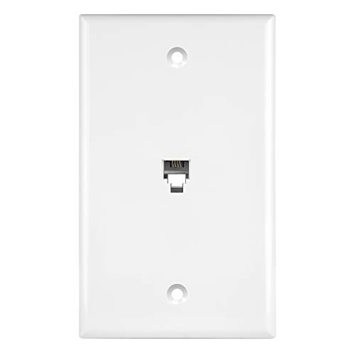 ENERLITES RJ11 Telephone Jack Wall Plate by 1-Gang, Standard Size, White, 6-Position 4-Conductor, Single Port 2-Line Support 6611-W, - Isdn Telephone
