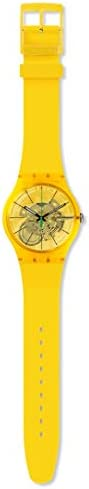 Swatch New Gent Lacquered Swiss Quartz Silicone Strap, Yellow, 20 Casual Watch (Model: SUOJ108)