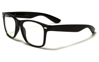 Vintage Inspired Eyewear Original Geek Nerd Clear Lens Horn Rimmed Glasses - Wayfarer Black Glasses