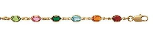 Collier en Plaqué Or et Cristal - Chaîne avec Pendentifs Fixes : Formes Ovales en Strass, Brillants Multicolore - Bijoux Femme