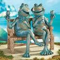 Collections Etc Happy Hour Frogs Garden Statue