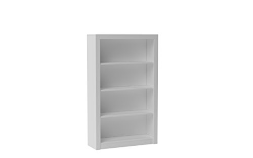 Manhattan Comfort Contemporary and Wide Olinda 2.0 Classic Open Free Standing Bookcase with 4 Shelves, White