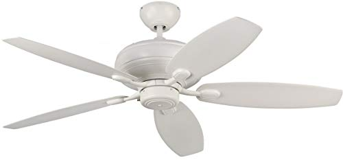 - Monte Carlo 5CQM52RZW Transitional 52`` Ceiling Fan from Centro Max Collection in White Finish, 14.49 inches, See Image