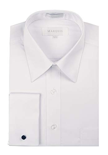 Gentlemens Collection Men's Regular Fit French Cuff Solid Dress Shirt - White - 19.5 4-5