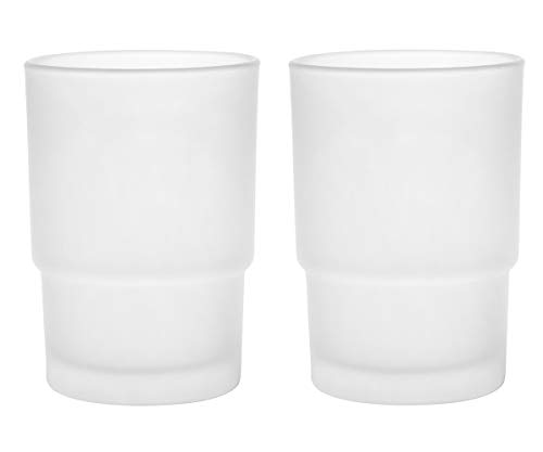- Livpow Glass Toothbrush Cup Replacement Frosted Pack of 2