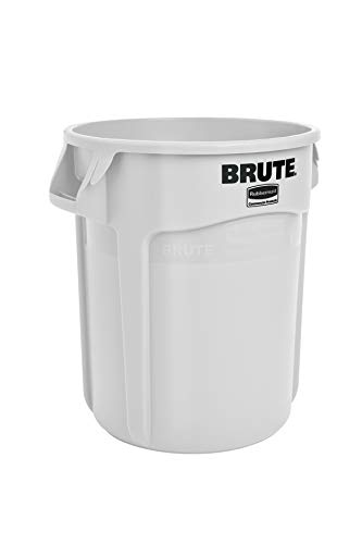 (Rubbermaid Commercial Products FG262000WHT BRUTE Heavy-Duty Round Trash/Garbage Can, 20-Gallon, White)