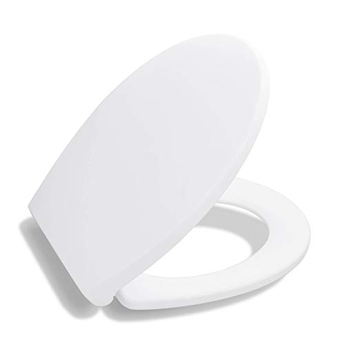 (Bath Royale BR620-00 Premium Round Toilet Seat with Cover, White, Soft-Close, Quick-Release for Easy Cleaning. Fits All Manufacturers' Round Toilets)