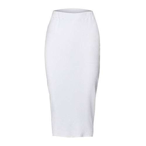 Malloom Femmes Jupe Chic Solide Taille Haute Bodycon Jupe Longue Slim Straight Dresses mi-Mollet Blanc