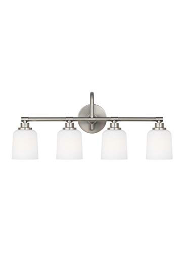 Feiss VS23904SN Reiser Glass Wall Vanity Bath Lighting, Satin Nickel, 4-Light (29