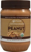 Vitacost Whole Food Certified Organic Smooth & Unsalted Peanut Butter -- 18 oz (510 g)