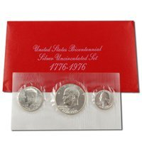 1976 Bicentennial Silver 3 Pc. Mint - Set Proof No Envelopes Coins