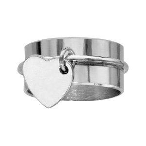 1001 Bijoux - Bague argent ruban 10mm avec coeur