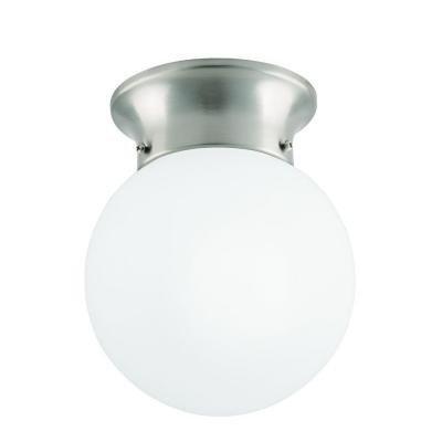 1-Light Globe Brushed Nickel LED Flush (Nickel Flush Mount Pan)