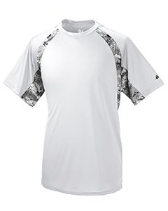 (Badger BD4140 Digital Hook Adult Tee - White, Black & Digital, XL)