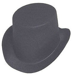 Black Flocked Felt Top Hats - Size: 4-7/8