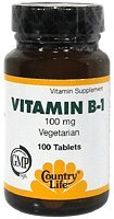 Country Life vitamine B-1 100 Mg, 100-Comte