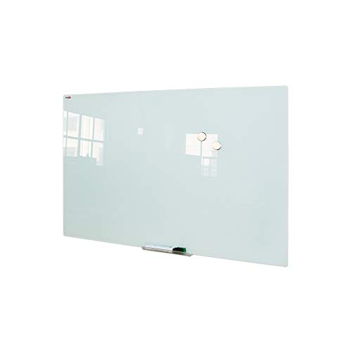 Magnetic Glass Dry Erase Board/Whiteboard, Wall Mounted Glass White Board, Frameless Glass Board with Aluminum Marker Tray, 36 x 24 Inch, Includes 4 Dry Erase Markers, 1 Eraser and 2 Magnets ()